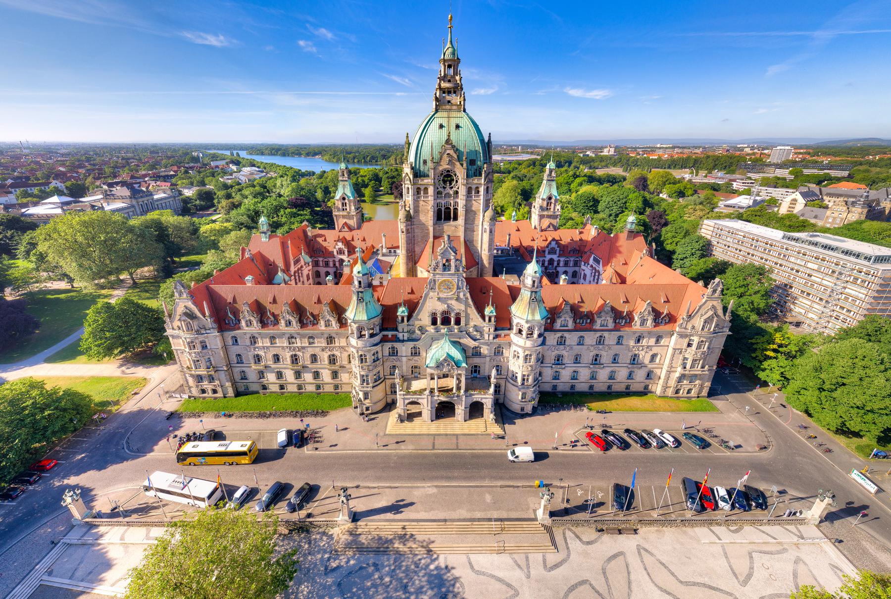 Neues Rathaus Hannover Vogelperspektive